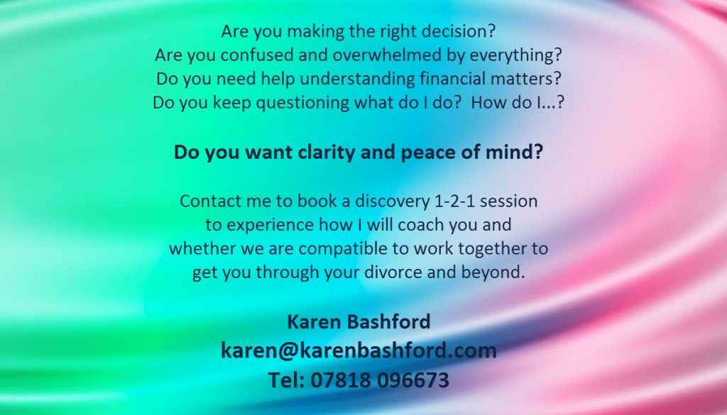 Karen Bashford Divorce Money Coach London SE Voucher